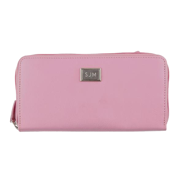Ladies Full Zip Leather Wallet RFID - Blush