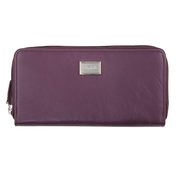 Ladies Full Zip Leather Wallet RFID - Grape
