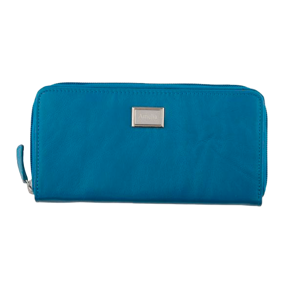 Ladies Full Zip Leather Wallet RFID - Peacock