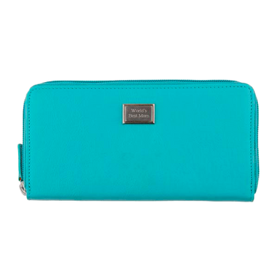 Ladies Full Zip Leather Wallet RFID - Turquoise
