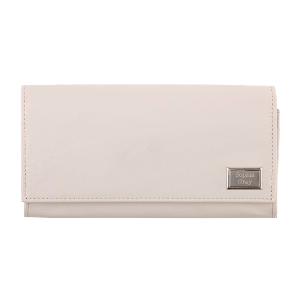 Ladies Leather Travel Wallet RFID - Steel