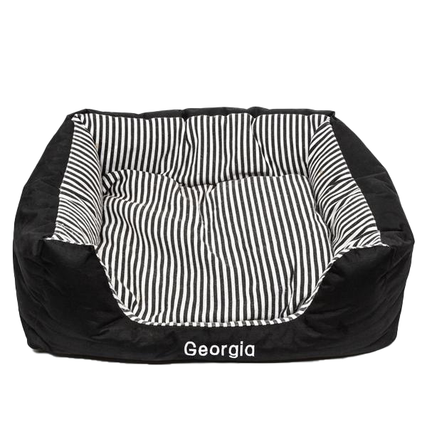 Large Pet Bed Black Stripes