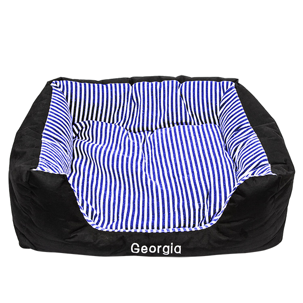 Large Pet Bed Navy Blue Stripes
