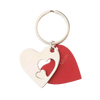 Layered Hearts Red and Silver Keychain