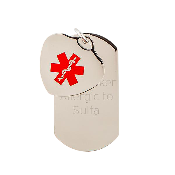 Medic Alert Dog Tag Double Pendant Set