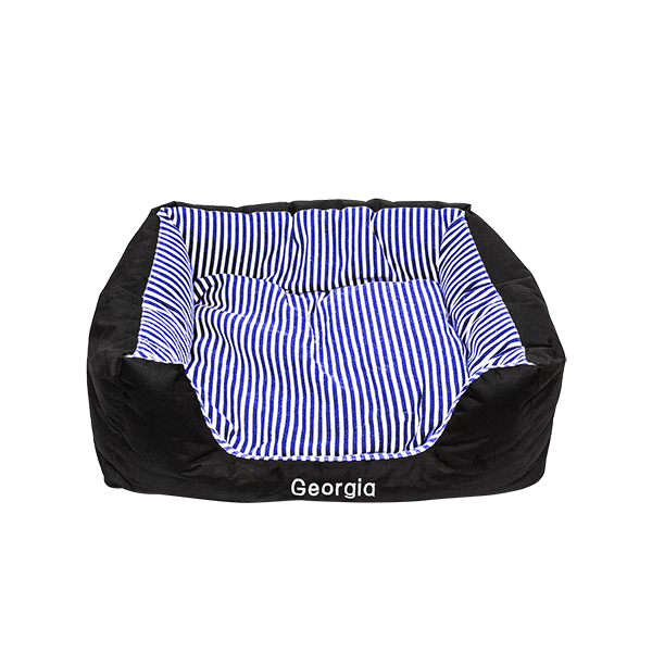 Medium Pet Bed - Navy Blue Stripes