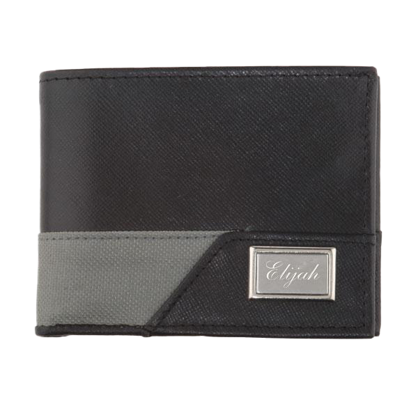 Men's Sporty Leather RFID Wallet Black and Grey
