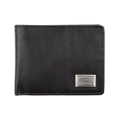Mens Black Leather Wallet with Engraving Plate