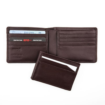 Mens Brown Leather Wallet with Engraving Plate