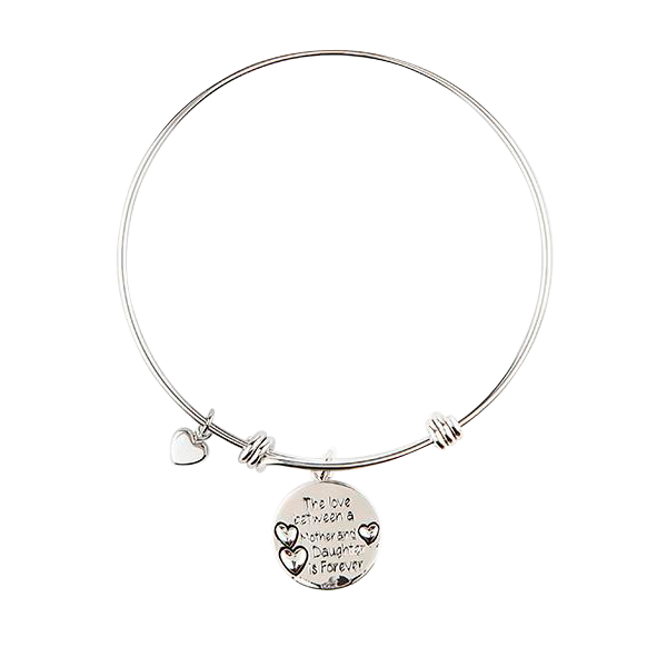 Mother/Daughter Love Bangle with Charm
