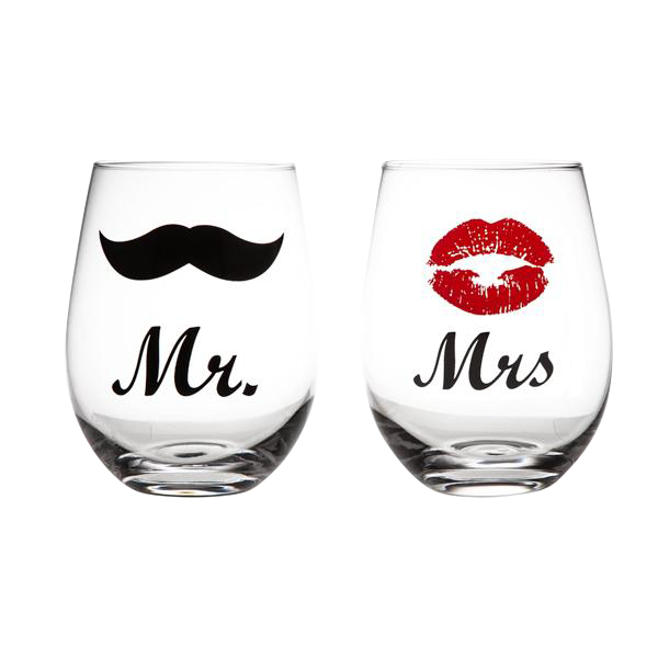 Mr & Mrs Lips and Moustache Stemless Wine Glass Set