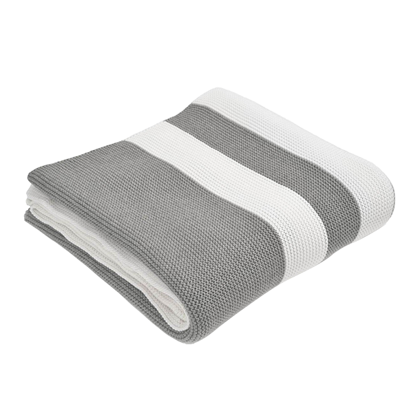 Multi Stripe Grey & White Throw