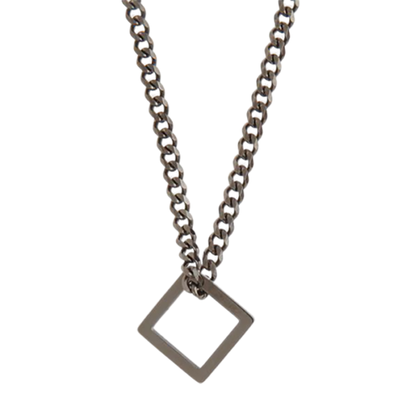 Open Square Pendant on Chain - Gun Metal Finish