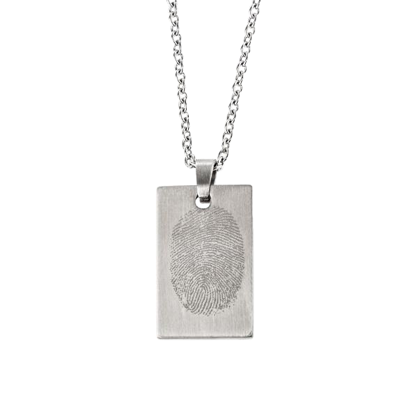 Photo Engraving Small Rectangular Pendant on Chain