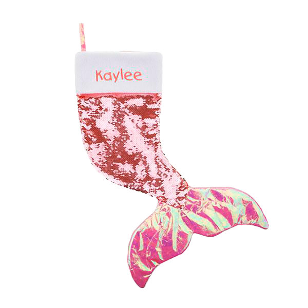 Pink Mermaid Reversible Sequin Stocking