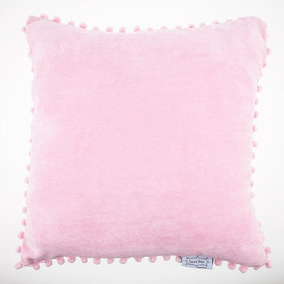 Pink Pom Pom Trim Pillow