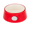 Red Ceramic Pet Bowl with Engravable Plate