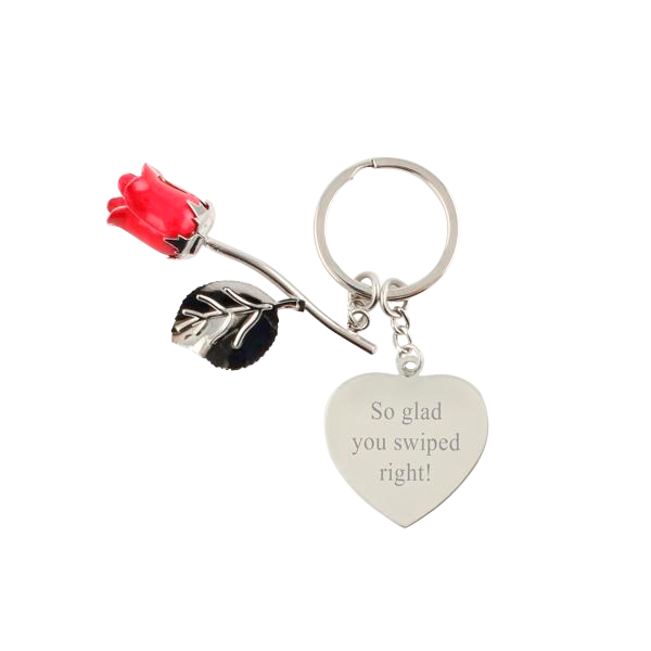 Red Rose Keychain with Heart
