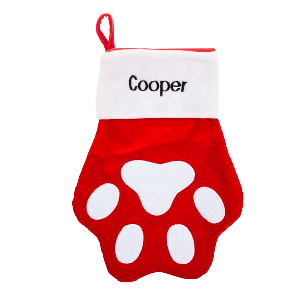 Red and White Velvet Pet Paw Stocking