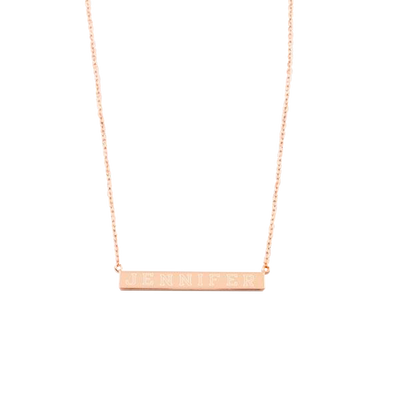 Rose Gold-Sterling Silver Bar Necklace