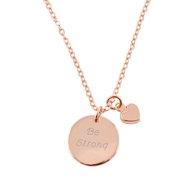 Rose Gold Pendant Necklace w/ Mini Heart Chain