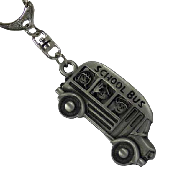 School Bus Driver Pewter Keychain