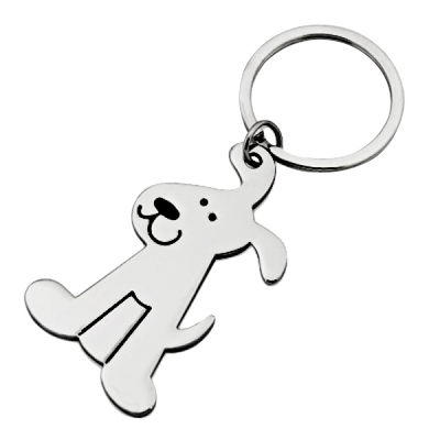 Shiny Silver Dog Keychain