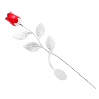 Silver Plated Red Rose