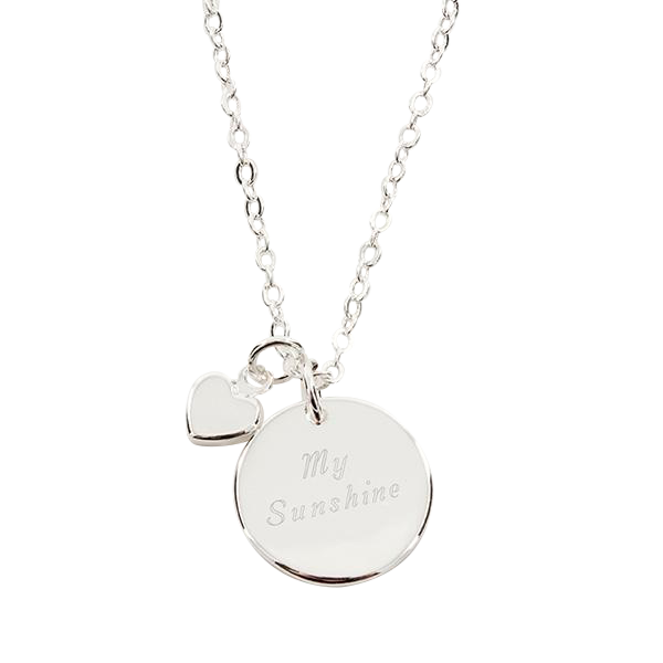 Silver Round Pendant Necklace w/ Mini Heart Charm