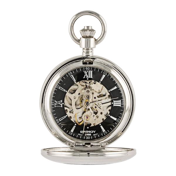 Skeleton Black Dial Mechanical Pocket Watch