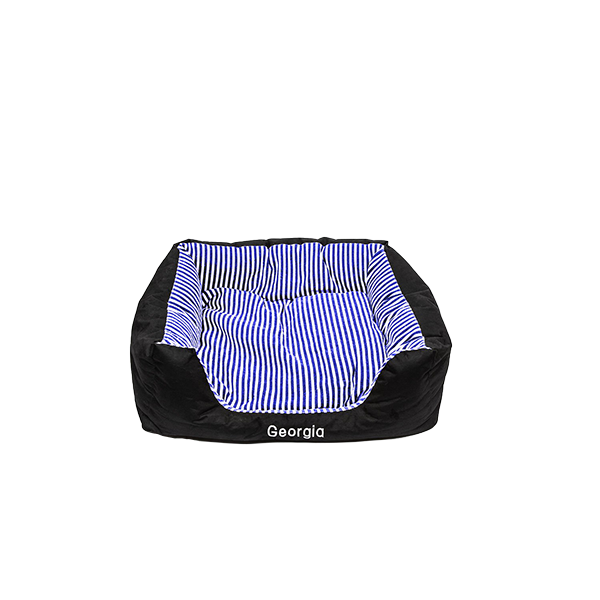 Small Pet Bed - Navy Blue Stripes