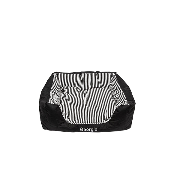 Small Pet Bed Black Stripes
