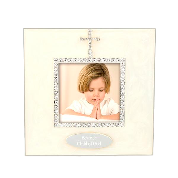 Square Epoxy Frame With Crystal Cross
