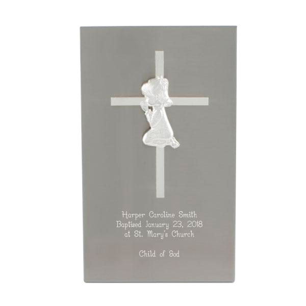Stainless Steel Cross Plaque - Girl