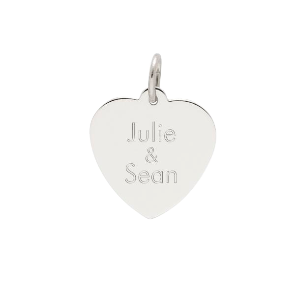 Sterling Silver Charm - Heart Disc 18mm