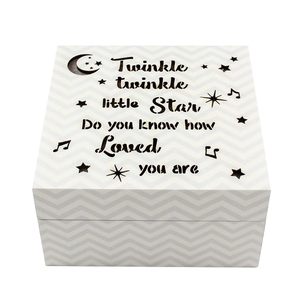 Twinkle LED Box Grey Chevron