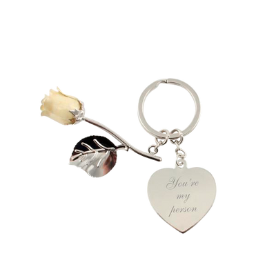 Vanilla Rose Keychain with Heart