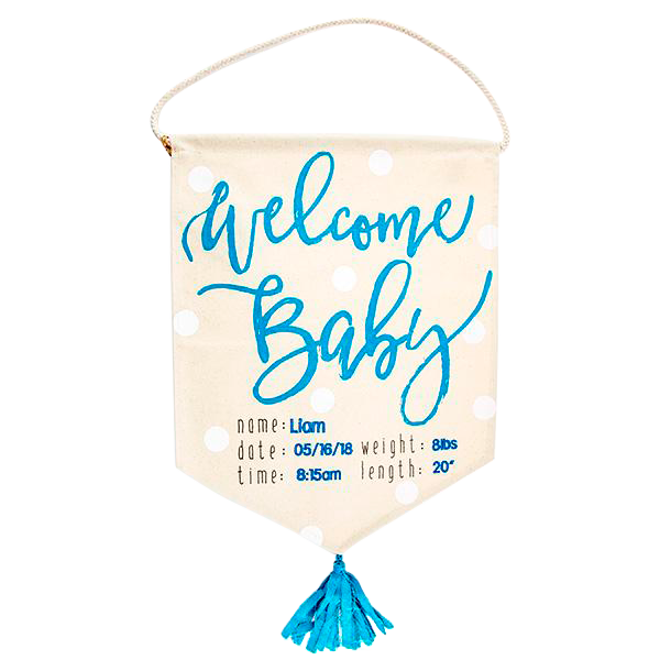 Welcome Baby Flag Blue