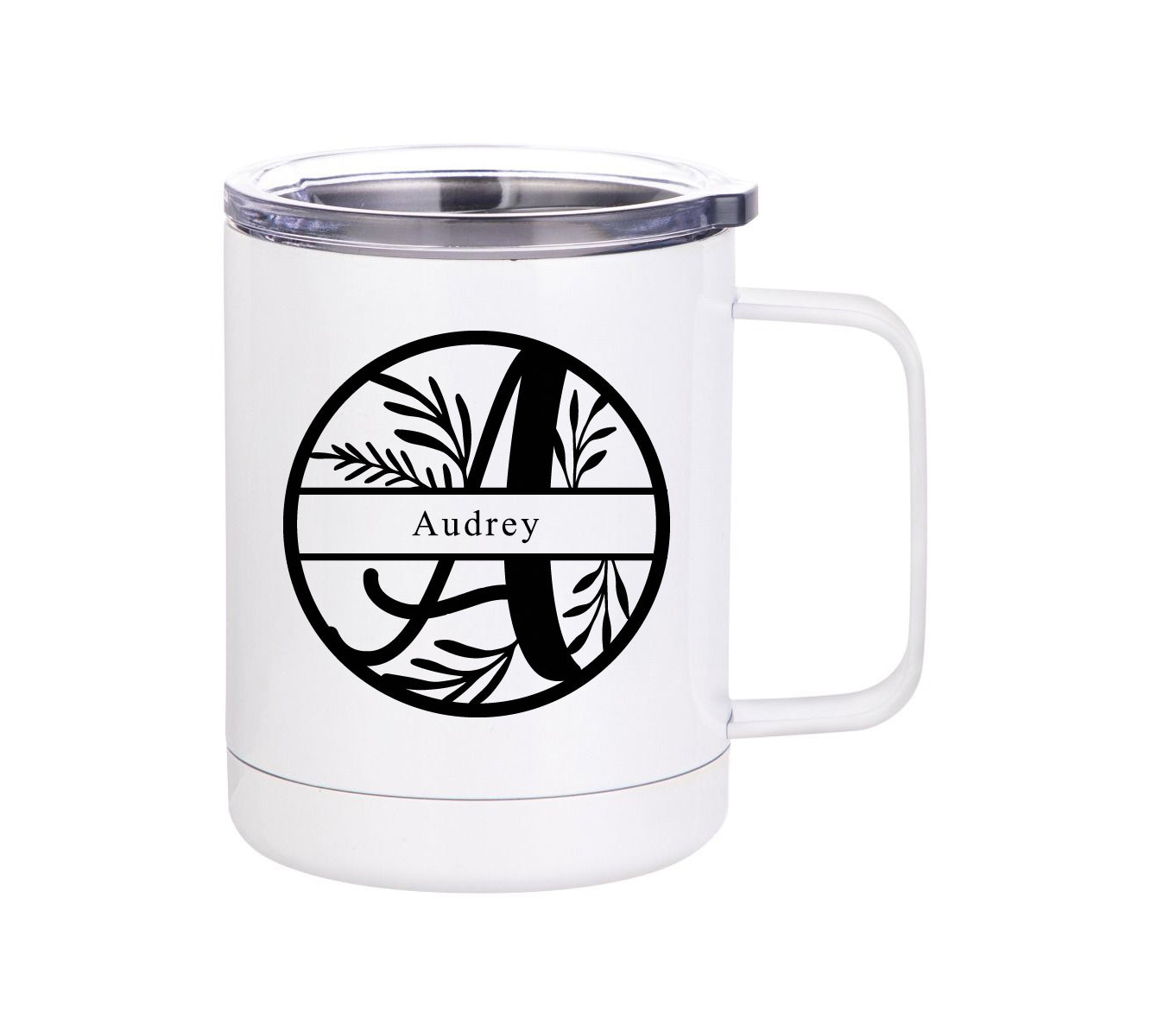 Floral monogram insulated mug