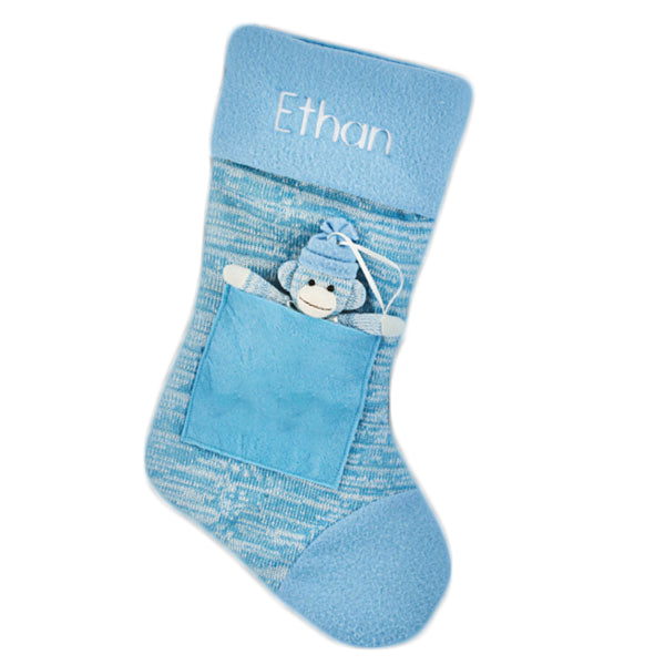 Blue sock monkey stocking