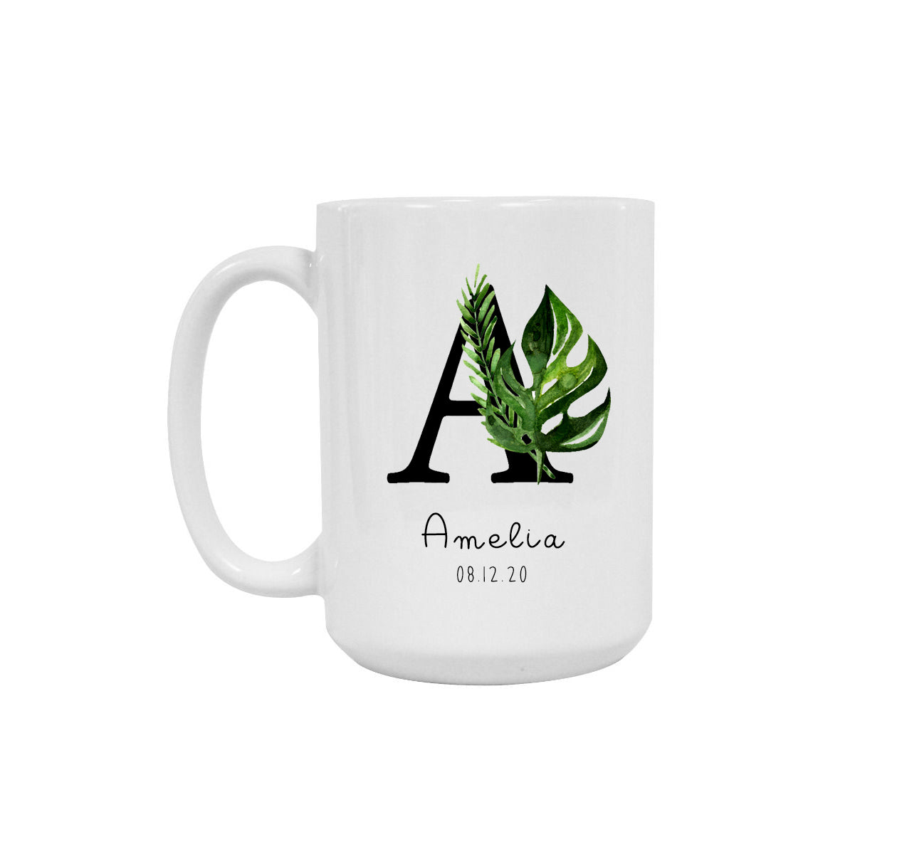 Botanical monogram ceramic mug