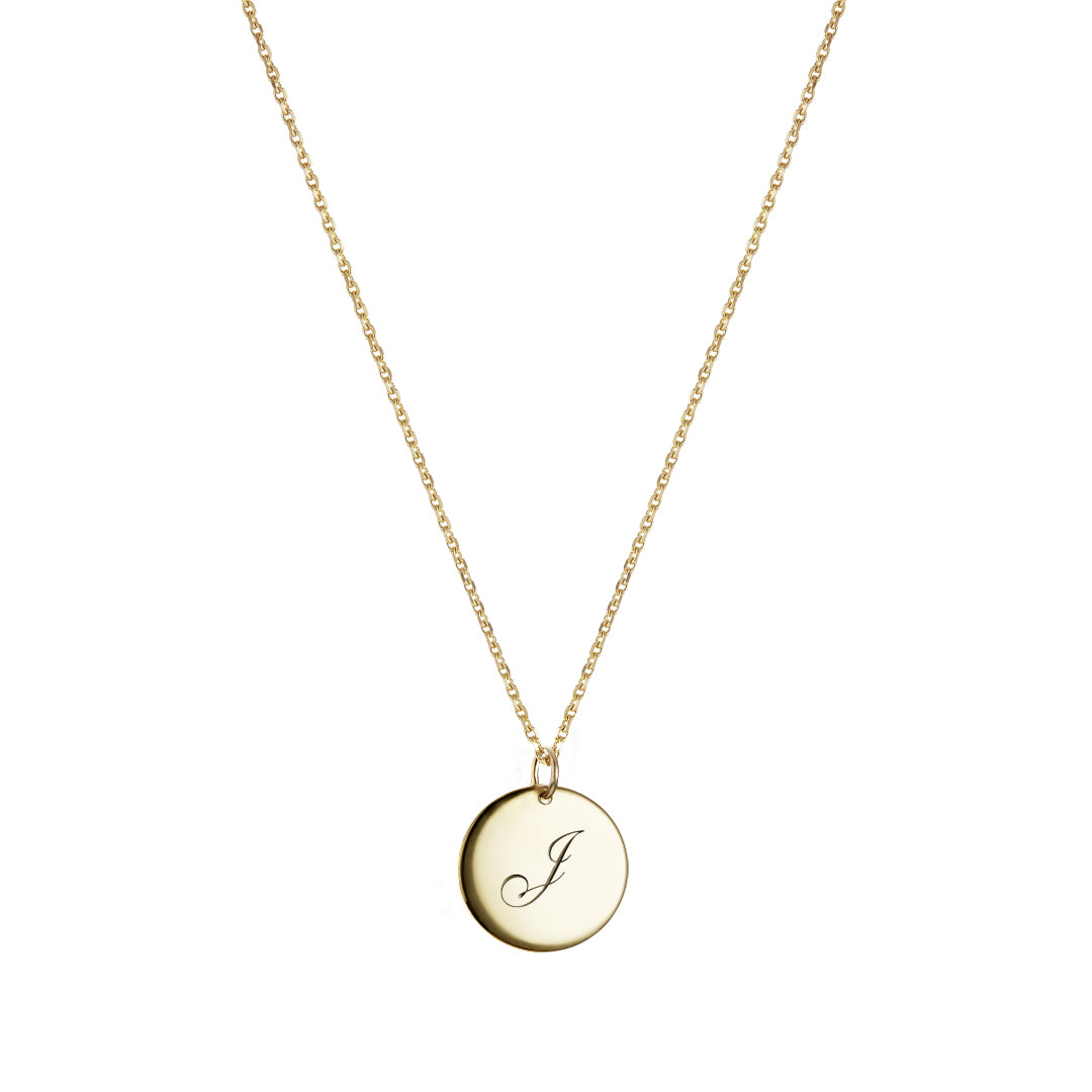 Monogram round pendant necklace Gold