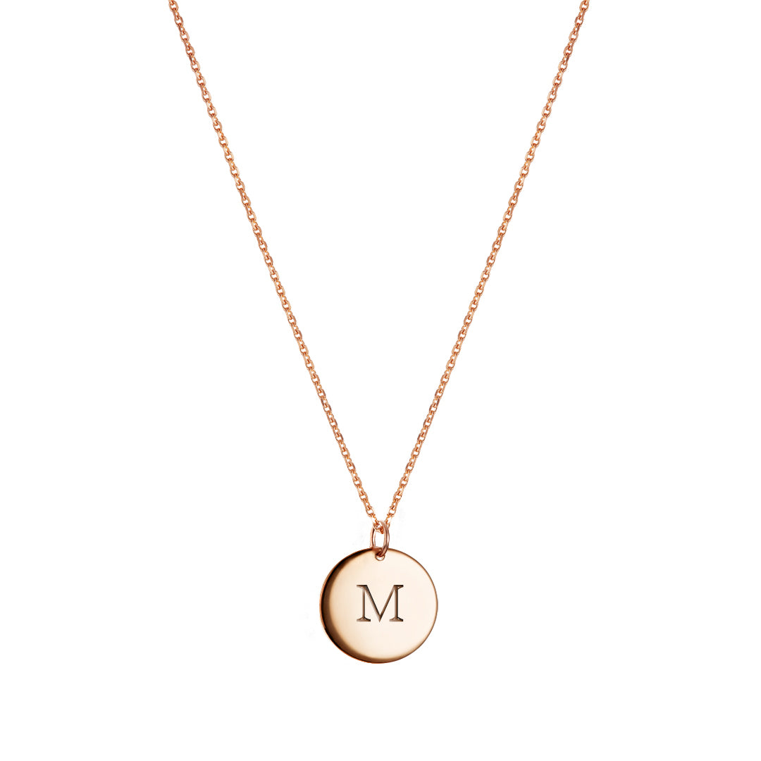 Monogram Round Pendant Necklace Rose Gold