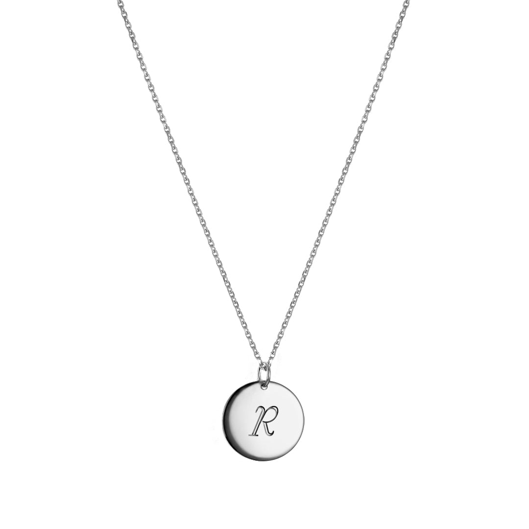 Monogram Round Pendant necklace Silver
