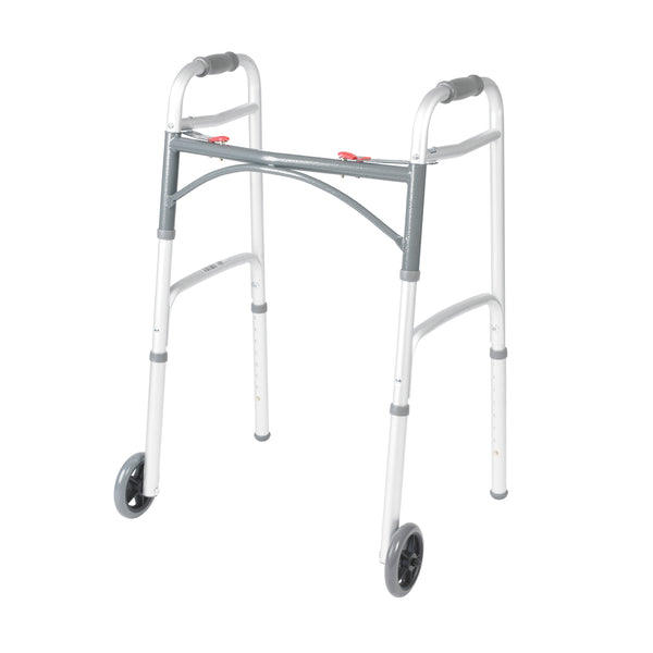 "Deluxe Two Button Folding Walker with 5"" Wheels - Discount Homecare & Mobility Products"