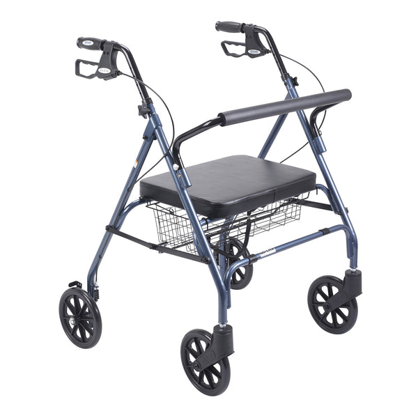Heavy Duty Bariatric Rollator Rolling Walker with Large Padded Seat, Blue - Discount Homecare & Mobility Products