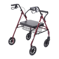 Heavy Duty Bariatric Rollator Rolling Walker with Large Padded Seat, Red - Discount Homecare & Mobility Products