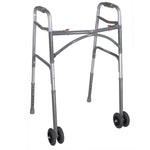 Heavy Duty Bariatric Two Button Walker with Wheels - Discount Homecare & Mobility Products