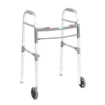 "Two Button Folding Universal Walker with 5"" Wheels - Discount Homecare & Mobility Products"