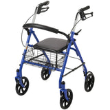 Four Wheel Rollator Rolling Walker with Fold Up Removable Back Support, Blue - Discount Homecare & Mobility Products